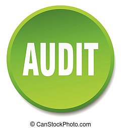 audit green round flat isolated push button