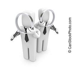 audit, groupe, hommes affaires, glasses., magnifier