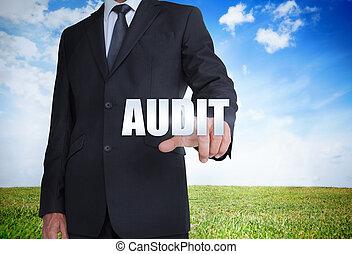 audit, homme affaires, mot, choix
