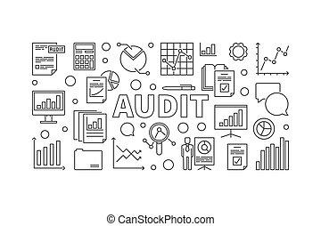 Audit horizontal vector banner or illustration