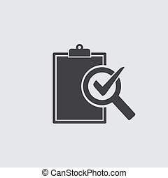Audit icon in black on a gray background. Vector...