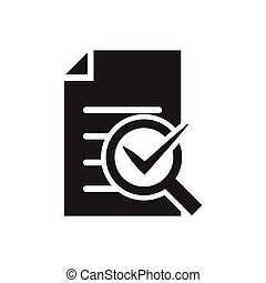 Audit icon vector magnifying glass like check assess. verify service critique process, scrutiny plan for graphic design, logo, web site, social media, mobile app, ui