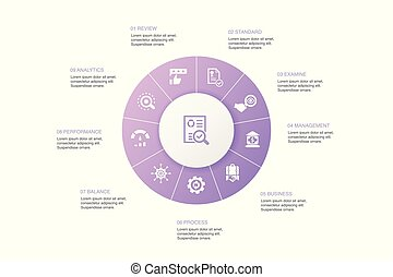 audit Infographic 10 steps circle design. review, standard, examine, process icons