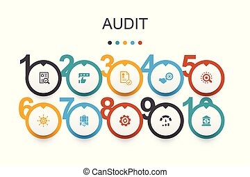 audit Infographic design template. review, standard, examine, process icons