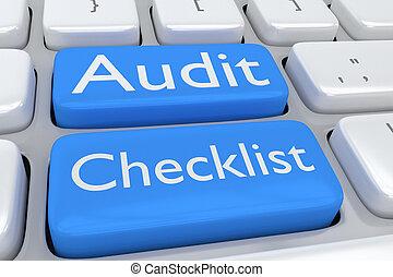 audit, liste contrôle, concept