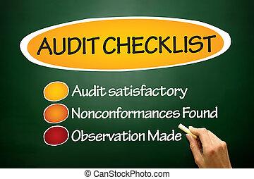 audit, liste contrôle