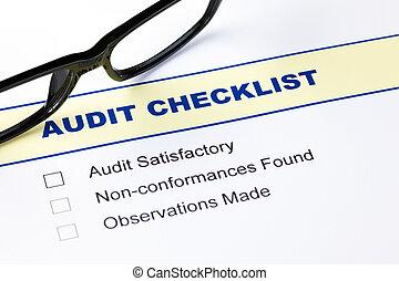 audit, liste contrôle, lunettes