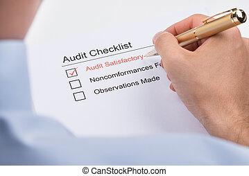 audit, liste contrôle, remplissage, personne affaires, formulaire