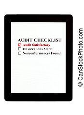 audit, liste contrôle, tablette, numérique