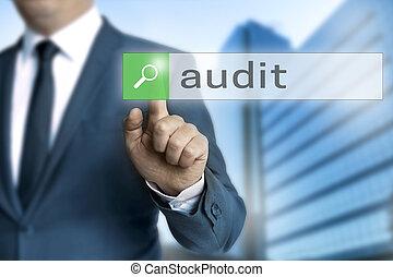 audit, navigateur, homme affaires, opéré