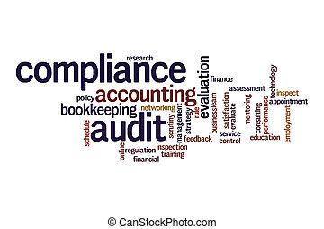audit, nuage, conformité, mot, concept