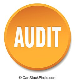 audit orange round flat isolated push button