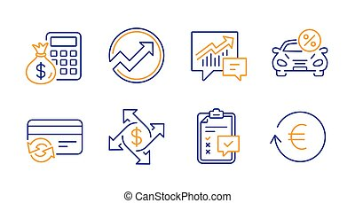 Audit, Payment exchange and Change card icons set. Finance calculator, Checklist and Accounting signs. Vector