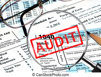 Audit - Tax forms under a magnifying glass revealing a tax...