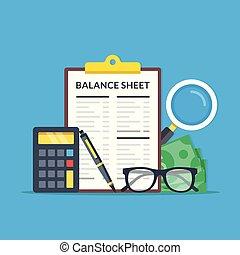 audit, plat, graphique, financier, équilibre, elements., presse-papiers, calculatrice, moderne, lunettes, argent, vecteur, conception, illustration, verre, pen., feuille, concepts., déclaration, magnifier, comptabilité