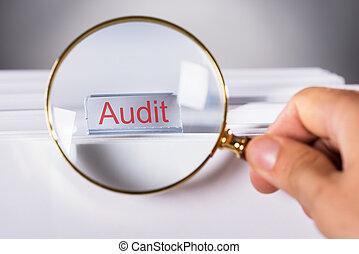 audit, projection, main, verre, par, onglet, magnifier