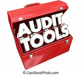 audit, revue, impôt, illustration, comptabilité, boîte outils, outils, 3d