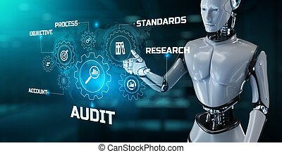 Audit Robotic process automation RPA concept. Robot pressing button on screen 3d render