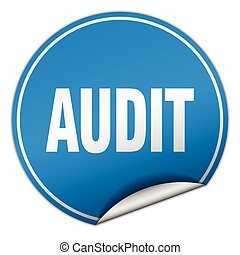 audit round blue sticker isolated on white