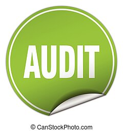 audit round green sticker isolated on white