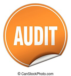 audit round orange sticker isolated on white