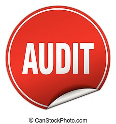 audit round red sticker isolated on white