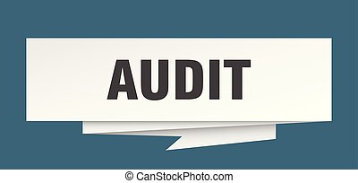 audit sign. audit paper origami speech bubble. audit tag....