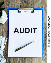 audit, texte, desk., bois, presse-papiers