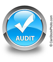Audit (validate icon) glossy cyan blue round button