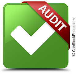 Audit (validate icon) soft green square button red ribbon in corner