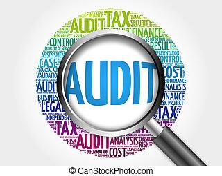 audit, verre, mot, magnifier, nuage