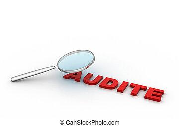 audit, verre, mot, magnifier, sous