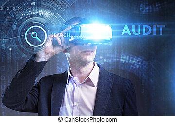 audit, voit, réseau, fonctionnement, inscription:, concept., jeune, virtuel, business, internet, homme affaires, technologie, réalité, lunettes