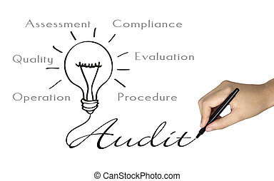 audit word and bulb icon drawn by human hand over white
