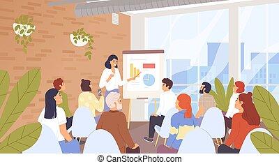 auditeurs, illustration., formation, personnel, carrière, vecteur, compagnie, conférence, business, concept., characters., entraîneur, dessin animé, businesspeople, conférence, cours, séminaire, développement