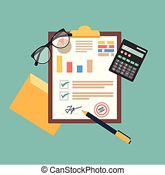 Auditing concept vector illustration. Tax process. Business background. Flat design of analysis, data, accounting, planning, management, research, calculation, reporting, project management.7