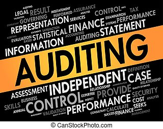 AUDITING word cloud collage, business concept background