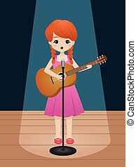 Audition - Vector illustration of a cute girl singing while...