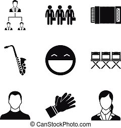 Audition icons set, simple style - Audition icons set....