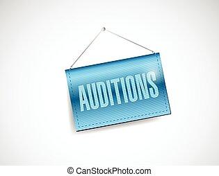 auditions hanging banner illustration design over a white...