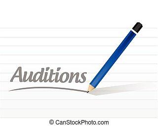 auditions message illustration design