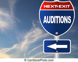 Auditions road sign