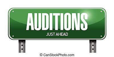 auditions sign illustration design over a white background