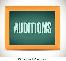 auditions, znak, na, niejaki, deska, ilustracja