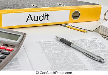 auditoría, carpeta, etiqueta