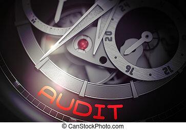 auditoría, en, moda, reloj, mechanism., 3d.