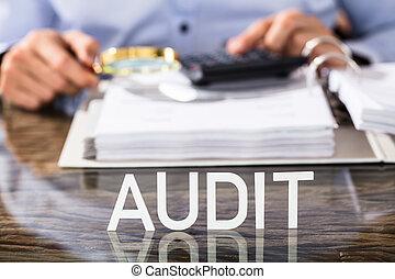 auditoría, financiero, texto, escritorio, datos, analista