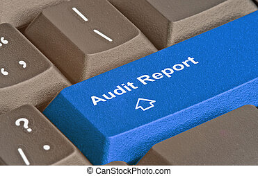 auditoría, informe, llave, teclado