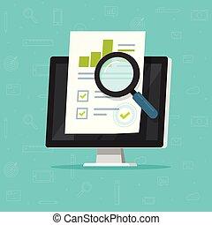 auditoría, investigación, en, computadora, vector, ilustración, plano, caricatura, papel, informe financiero, datos, análisis, en, pc, concepto, de, contabilidad, analytics, con, gráficos, y, gráficos, digital, documento, éxito, cheque, clipart