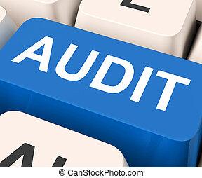 auditoría, medios, llave, validación, inspección, o